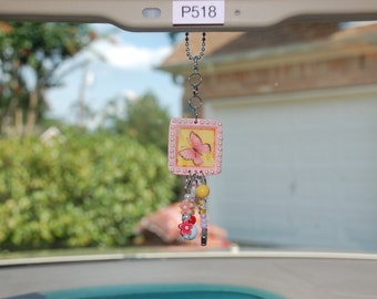 Pink Rearview Mirror Charm with Butterfly Image and Matching Beads [#P518]
