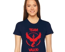 American Apparel Ladies Form Fitting tshirt, Team Valor, Team Mystic, Team Instinct, Pokemon Go shirt - Navy Blue Shirt- MORE design OPTIONS