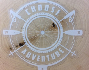 "Choose Adventure 5"" Clear window decal"