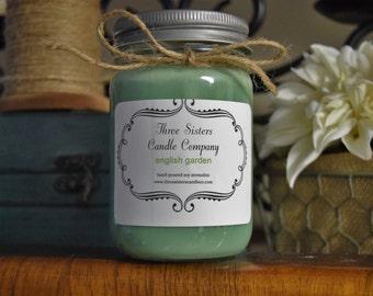 English Garden 12 Oz Mason Jar Soy Candle