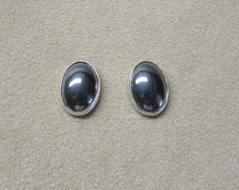 Beautiful HEMETITE STERLING silver post earrings.