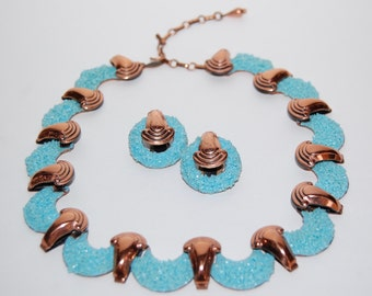 1950s Matisse Copper Necklace and Earring Set - Gorgeous!