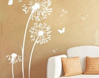 Wall sticker flower butterflies dandelion wall sticker wall sticker living room bedroom nursery wall decoration tattoo sticker w312