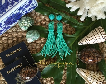 The Coquina - Turquoise Beaded Tassel Earrings by St. Armands Designs - Ships Immediately!