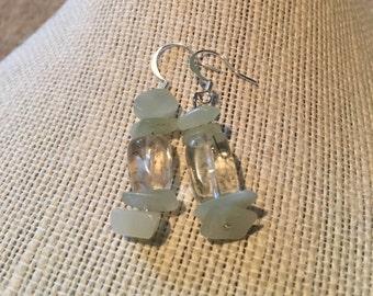 Mint Jade and Clear Quartz Earrings