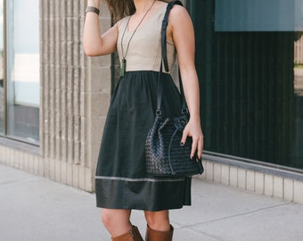 Leather bucket bag, Black bucket bag, Black lamb leather, Bucket handbag