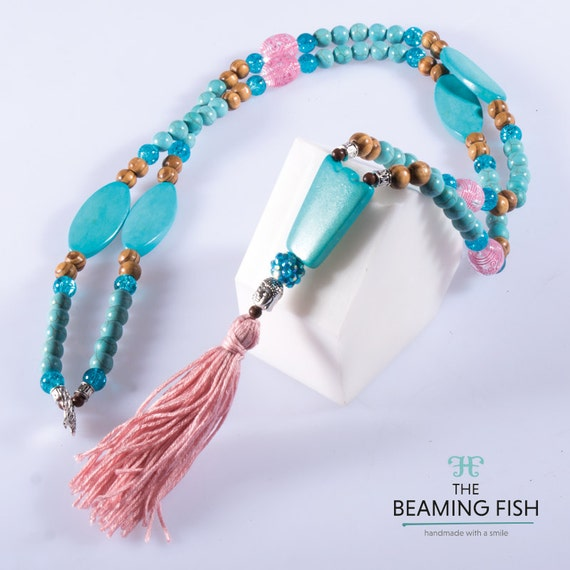 Aqua Rose - Colourful blush pink tassel necklace, long necklace, wooden beaded, turquoise, blue cracked glass.