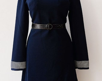 Vintage Secretary Dress | USA | Stewardess-Look | A-Linie | Twiggy | Mod | Marine | Waist 31""