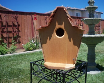 Handcrafted cedar birdhouse  #102 FREE SHIPPING