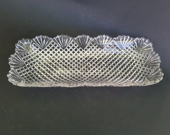 Beautiful Pressed Glass Relish /Olive Tray~Rectangular Shape~1950s~Fans and Cross Hatching