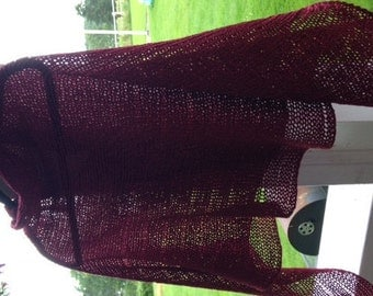 knitted poncho Wool Silk Linen Burgundy red
