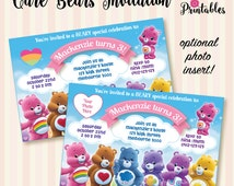 Care Bears (new) Invitation with Optional Photo Insert! Digital File / Print Yourself.