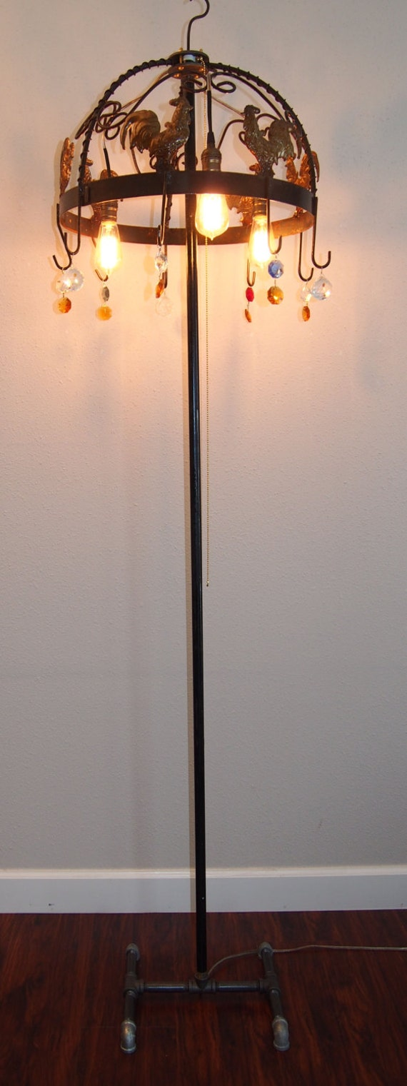 One of a Kind Designer Floor Lamp with decorative top Edison Style lights and crystal trim