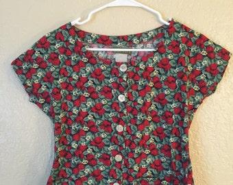 Vintage Espirit Strawberry Button-down Blouse Size S