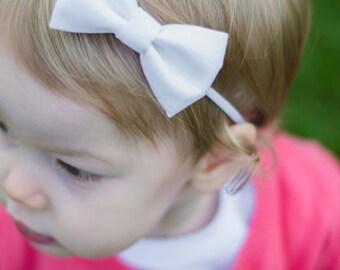 Baby Bow, White Bow Headband, Blessing Bow, Baptism, Christening Bow, Nylon Headband, Nylon Bow, Seamless Bow
