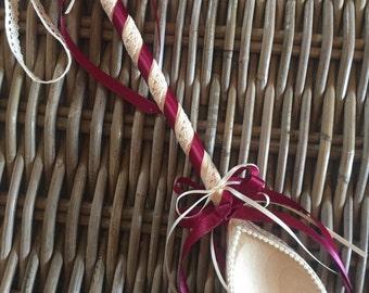 The Lulworth - Burgundy handmade wedding favour for the bride
