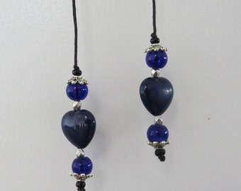 String beaded Bookmarker in Navy Blue Heart