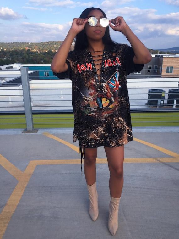 Lace up t shirt dress