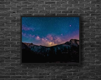 Night Photo Print - Starry Sky Print - Blue Purple Sky Photo - Night Mountains Print - Sky Photography - Blue Wall Decor - Sky Wall Decor