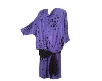 Vintage 80's Purple & Black Abstract Print Blouson Dress