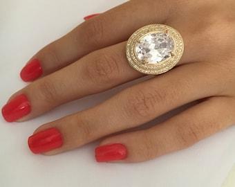Zirconia Ring, Cubic Zirconia Ring, Yellow Gold Ring, Rings for Women, Rings for Women Gold, Rings for Women Stone, Oval Engagement Ring