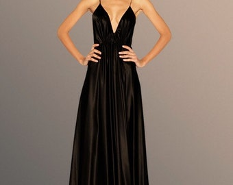 SILK EVENING GOWN / Long Dress / Deep Front Slit Gown. Made to Order.