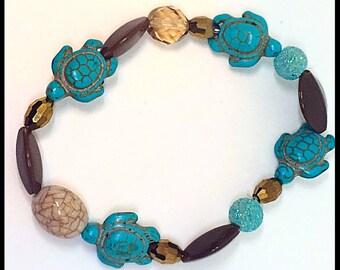 Sea Turtles and Gold Sworvoski Crystals