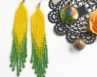 Beaded earrings Holiday earrings Seed bead jewelry Boho earrings fringe earrings extra long earrings jewelry beads earrings yellow green