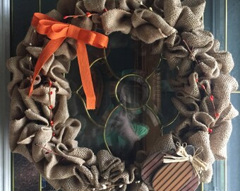 """Fall burlap wreath 16"""" available with or with out lights"""