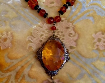 Vintage Amber 1920s Czech Flapper Necklace