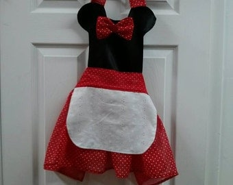 Red and black or pink and black apron