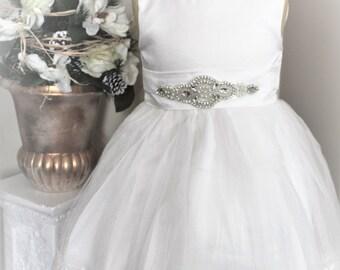 White Flower Girl Dress- White Lace Flower Girl Dress- Couture Flower Girl Dress- Birthday Girls Dress