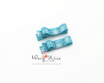 """Baby Hair Bow Set of 2- 1.75"""" Snowflakes, Frozen, Winter, Girls Hair Bow, Toddler Hair Bow, No Slip Alligator Clip- Made to Order"""