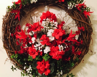 20 in wreath red and flowers