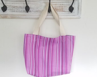 Purple striped tote bag