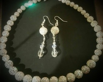 White Pavestone with crystal Necklace Set
