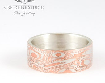 Traditional Mokume Gane Ring in Sterling silver and copper.