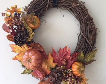 Grapevine Fall Pumpkin Wreath