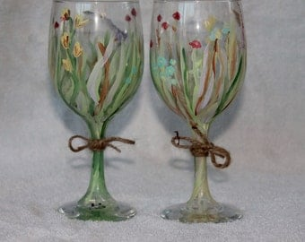 Hand Painted Wine Glasses (Set of 2)