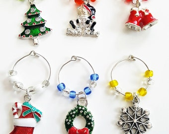 Christmas Themed Wine Glass Charms