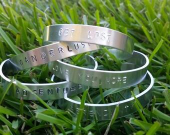 Custom Hand Stamped Solid Bangle Cuff Bracelet
