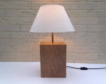 Handcrafted Solid Oak Table Lamp