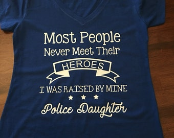 Police Daughter/Dad Hero V-neck shirt