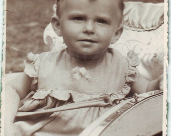 Vintage Photo - Baby photo - Child in baby carriage - Cute baby - Vintage Snapshot - Polish Photo - Vintage baby carriage - Smiling baby