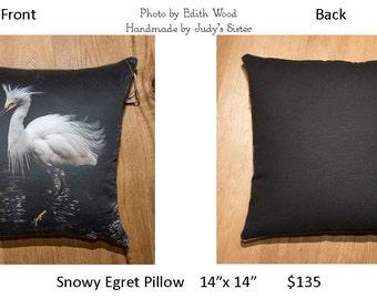 Snowy Egret Pillow