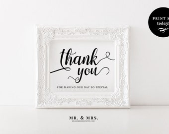 Calligraphy Thank You Wedding Sign, Thank You Sign, Printable Wedding Sign, Special Day Sign, Calligraphy, PDF, Wedding Printable, MAM202_14