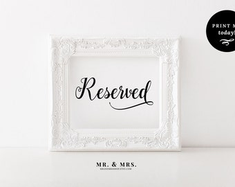 Calligraphy Reserved Sign, Reserved Wedding Sign, Printable Wedding Sign, Reserved Seats, Calligraphy, PDF, Wedding Printable, MAM202_08