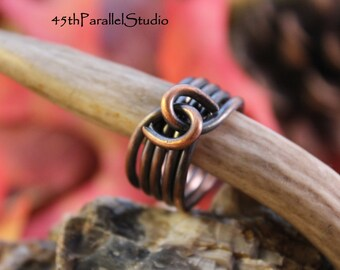 Twisted Copper Ring, Rustic Copper Ring, Womens Copper Ring, Mens Copper Ring, Copper Wire Ring, Copper Jewelry,
