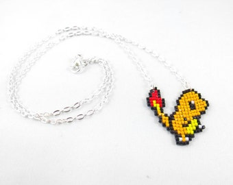 Charmander Necklace - Pixel Necklace Pokemon Necklace Pixel Jewelry 8 bit Necklace Seed Bead Neklace Video Game Necklace Starter Pokemon