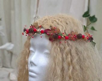 Christmas berry headdress, wedding, festival, pagan, berry head band